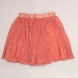 CK Girl Size 6 Peach Lace Skirt/Lining/Shorts